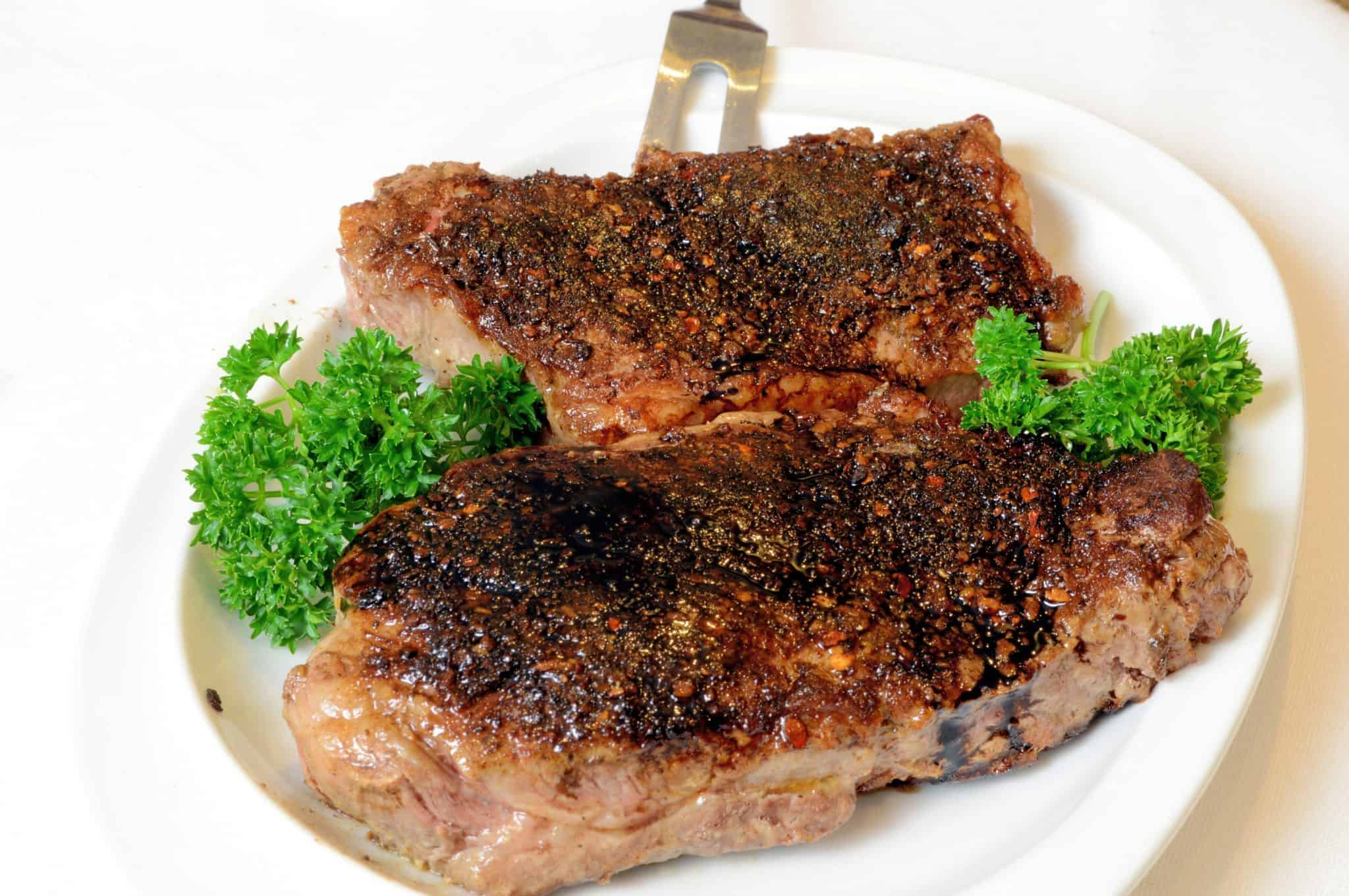 Portobello Crusted Strip Steak