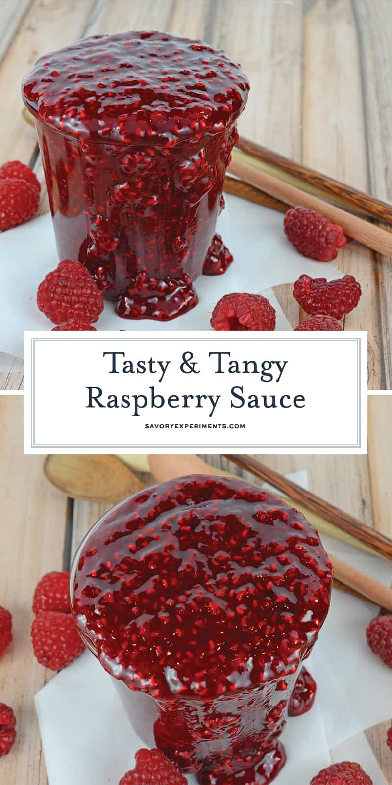 Raspberry Sauce is so versatile, use it on ice cream cheesecake, meringues, chocolate cake and more! And it only takes 5 ingredients and 20 minutes! #raspberrysauce #raspberrycoulis www.savoryexperiments.com