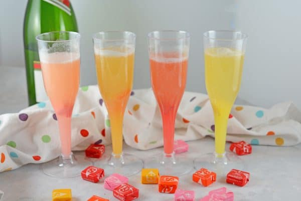 Make a new Champagne Cocktails using Starburst candy! Add your favorite Starburst flavor to any sparkling wine or cider and allow to dissolve for beautiful color and fun flavor!