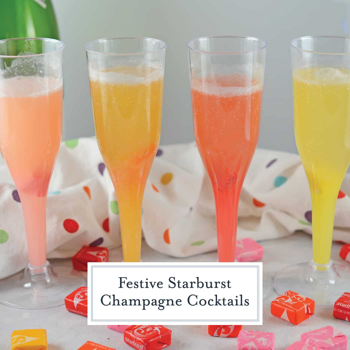 Make a new Starburst Champagne Cocktails using actual Starburst candy! Add your favorite Starburst flavor to any sparkling wine or cider and allow to dissolve for beautiful color and fun flavor! #kiddiecocktails #champagnecocktails www.savoryexperiments.com