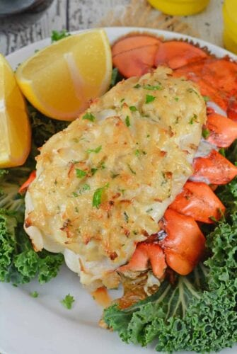 Crab Stuffed Lobster Tails is the ideal dinner for a special occasion. You won't believe how easy they are to make and how good they are! #lobsterrecipes #stuffedlobstertails www.savoryexperiments.com