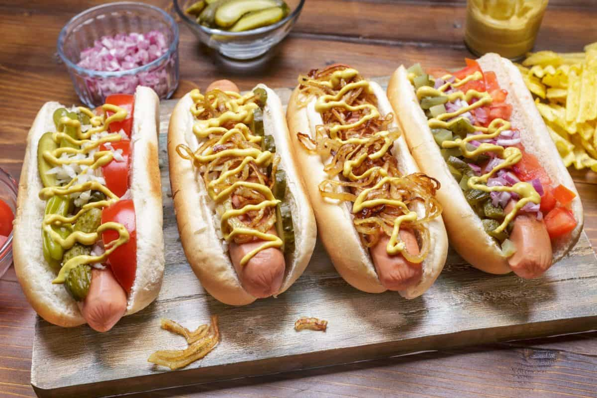 dressed hot dogs