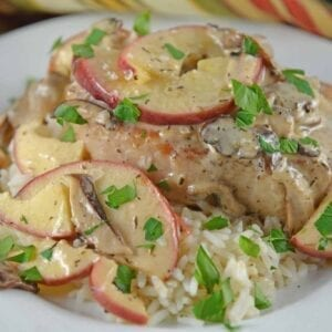 Creamy Apple Pork Chops are a wholesome meal your whole family will enjoy. Mushrooms, apples, juicy pork chops in a savory cream sauce.