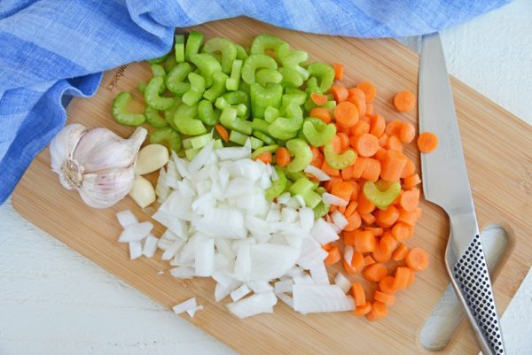 diced carrots, celery and onion