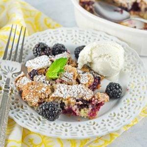 blackberry buckle scoop on a plate