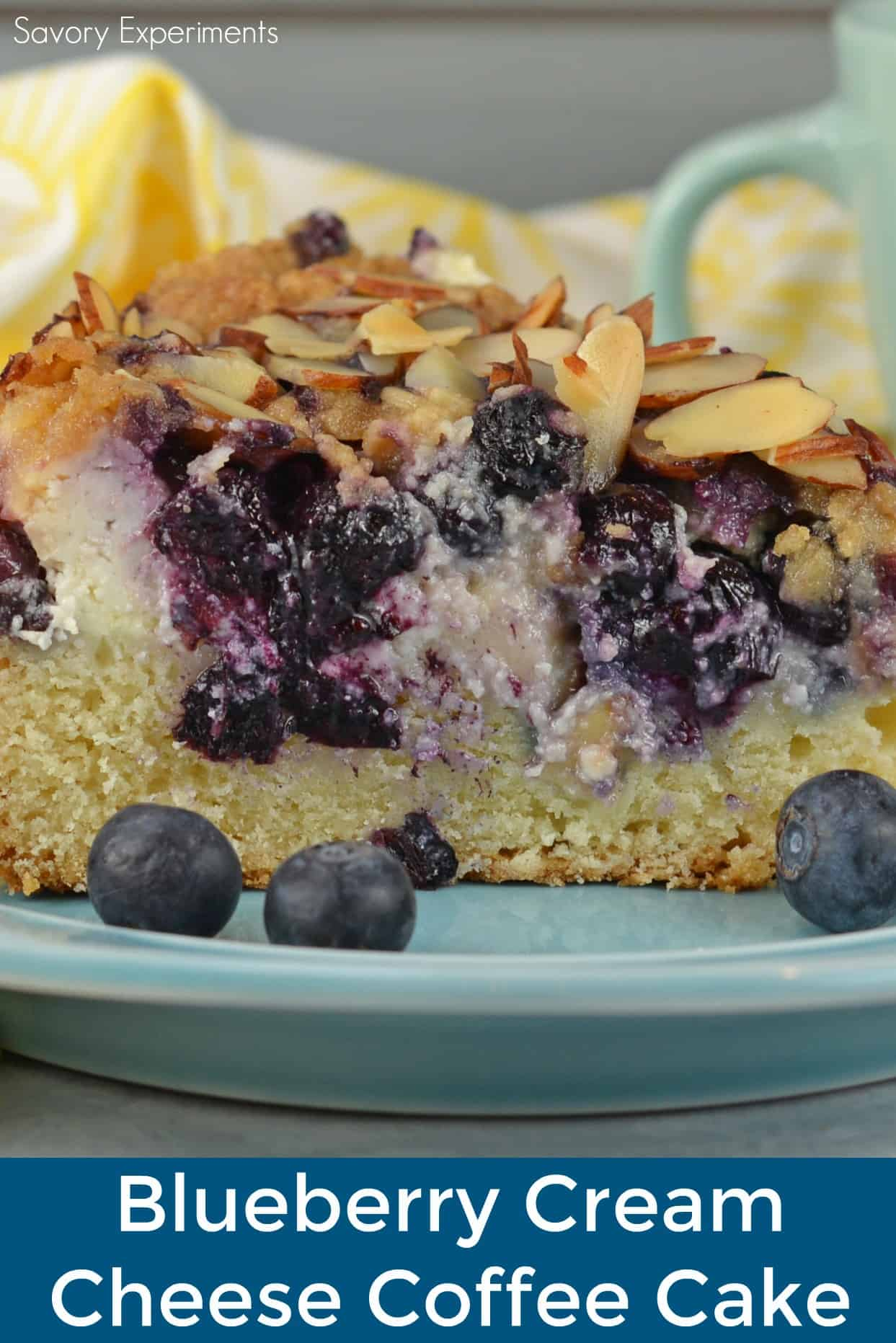 Blueberry Cream Cheese Coffee Cake is an easy coffee cake recipe with three layers of tender cake, silky cream cheese and almond streusel topping.