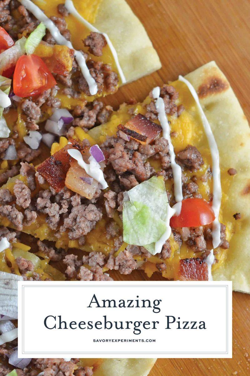close up of cheeseburger pizza