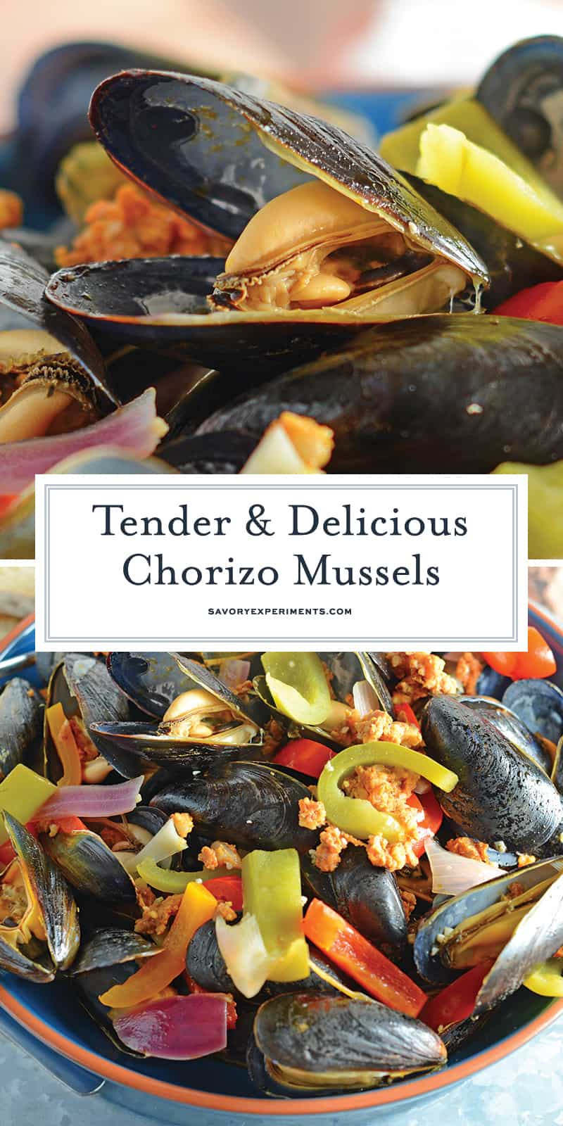 Chorizo Mussels are succulent, luscious tender mussels in a savory butter, chorizo wine sauce. Crusty bread is a must! #steamedmussels #easymusselrecipes #steampot www.savoryexperiments.com