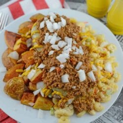 A Garbage Plate loaded with chili and macaroni salad