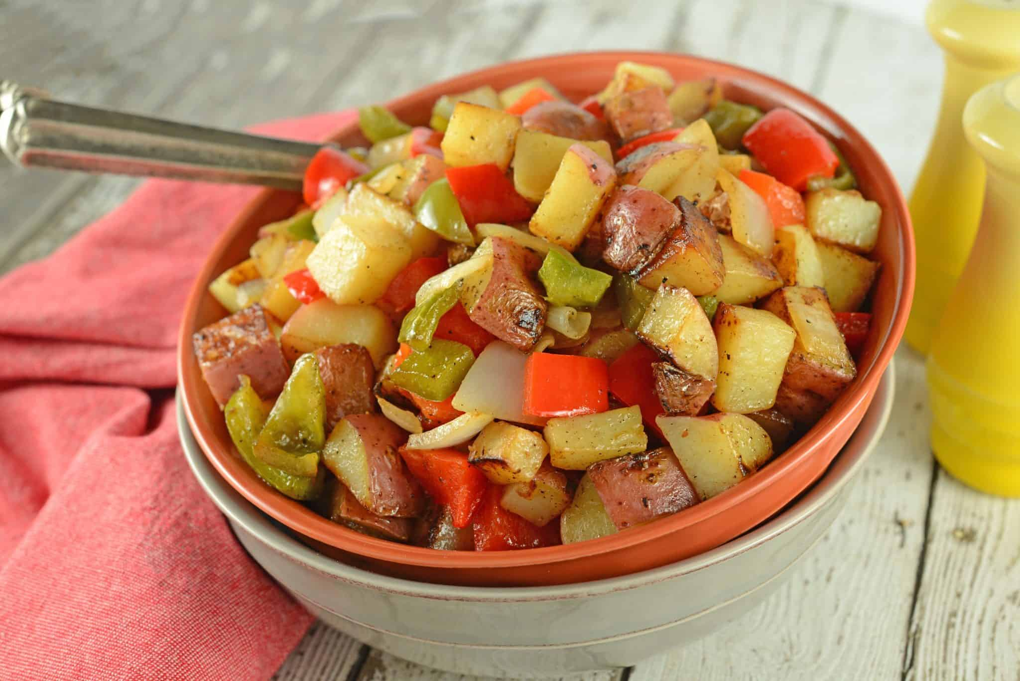 This is a traditional Potatoes O'Brien recipe with one special ingredient to really amp up the flavors! Potatoes, bell peppers and onions, you just can't go wrong!