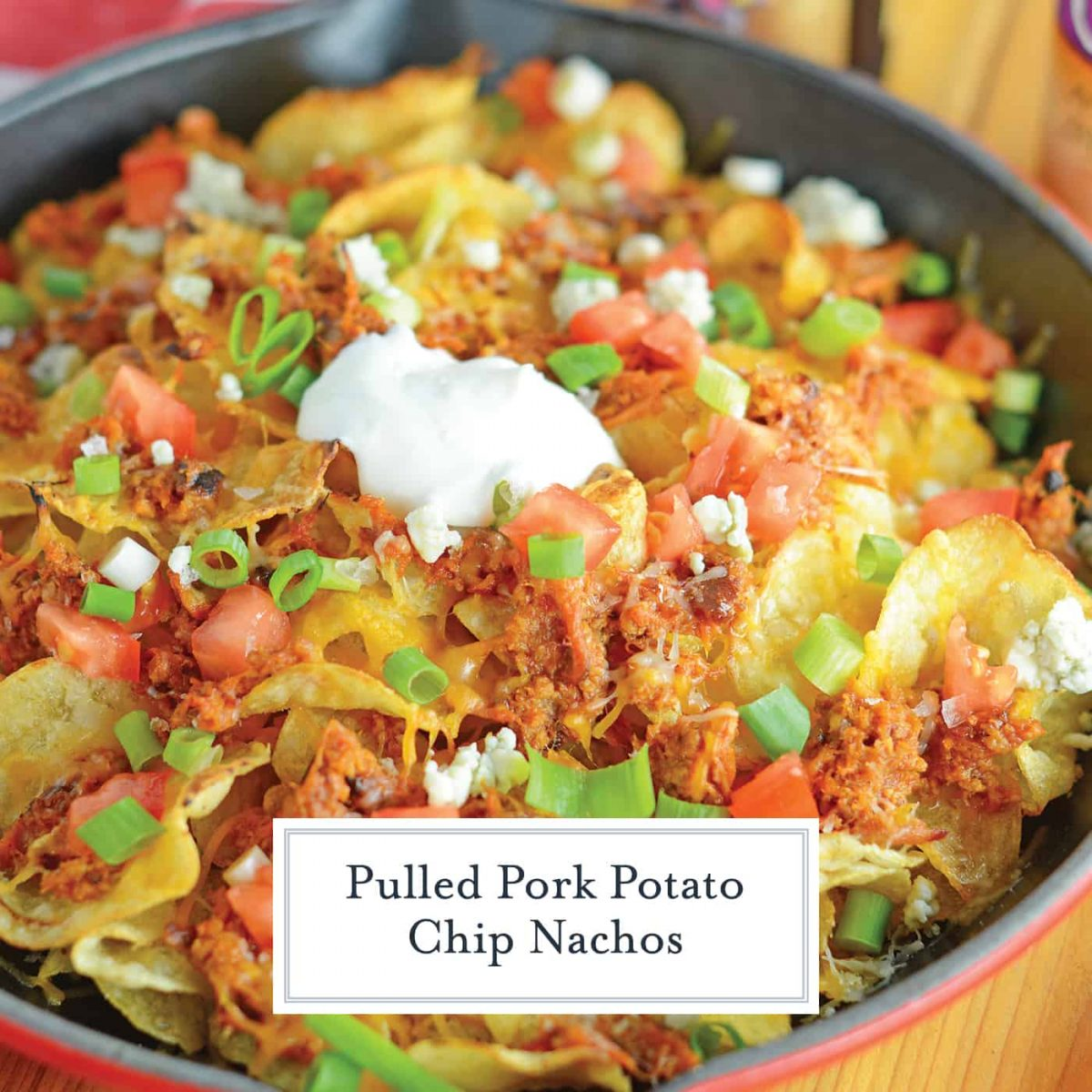 Pulled Pork Potato Chip Nachos are an easy appetizer or meal that your whole family will love made with kettle cooked potato chips and zesty pulled pork! #nachorecipes #pulledpork www.savoryexperiments.com