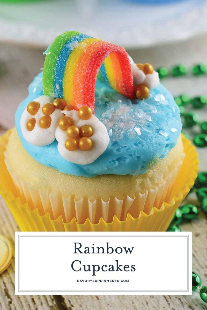 Close up of rainbow cupcakes