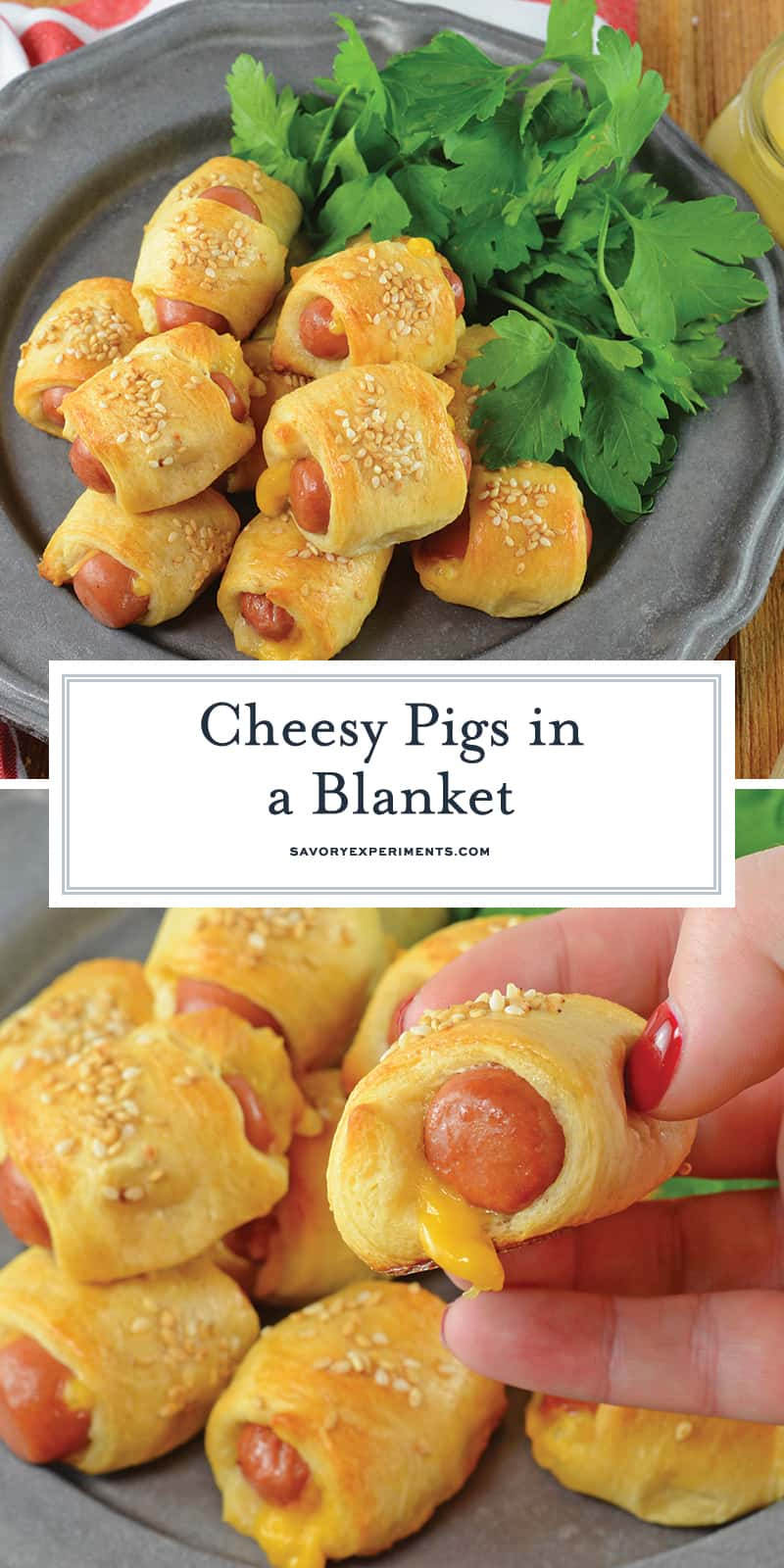 Pigs in a Blanket are great, but what if you made them into CHEESY pigs in a blanket? Serve with homemade creamy honey mustard sauce! #pigsinablanket www.savoryexperiments.com