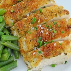Garlic Parmesan Chicken is an easy weeknight meal option that kids love! Just 6 ingredients and dinner is made!