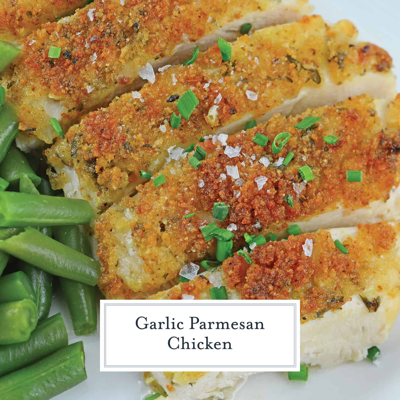 Garlic Parmesan Chicken is an easy weeknight meal option that everyone will love! Only 6 ingredients and your easy chicken recipe is ready to serve! #garlicparmesanchicken #bakedbreadedchicken #breadcrumbchicken www.savoryexperiments.com