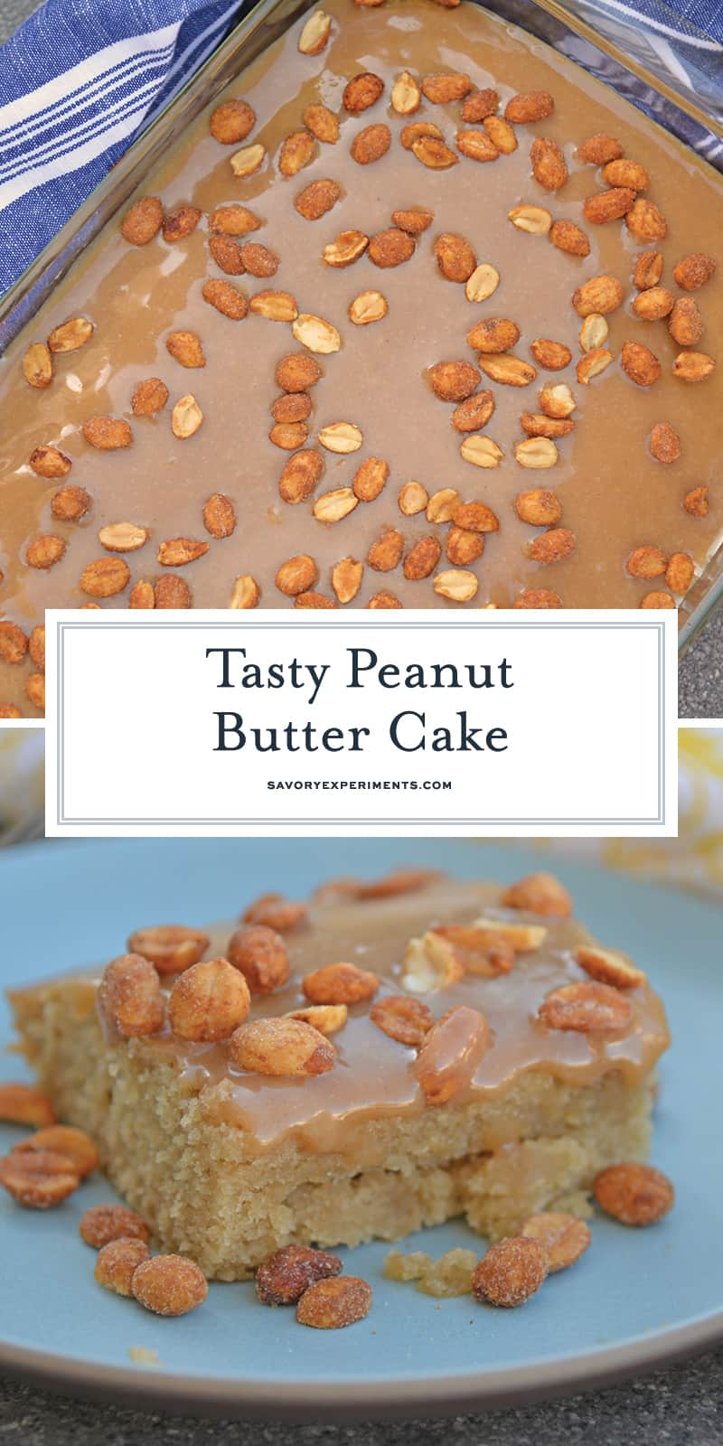 Peanut Butter Cake with Peanut Butter Marshmallow Frosting and honey roasted peanuts is an easy cake recipe that is moist and perfect for any occasion. #peanutbuttercake www.savoryexperiments.com