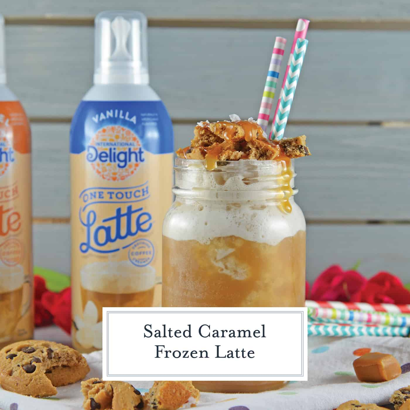 Salted Caramel Cookie Frozen Latte has the best of all worlds. Fresh coffee flavor with lightly sweetened latte froth, salty, gooey caramel and soft chocolate chip cookies. #coffeedrinks #homemadelattes www.savoryexperiments.com
