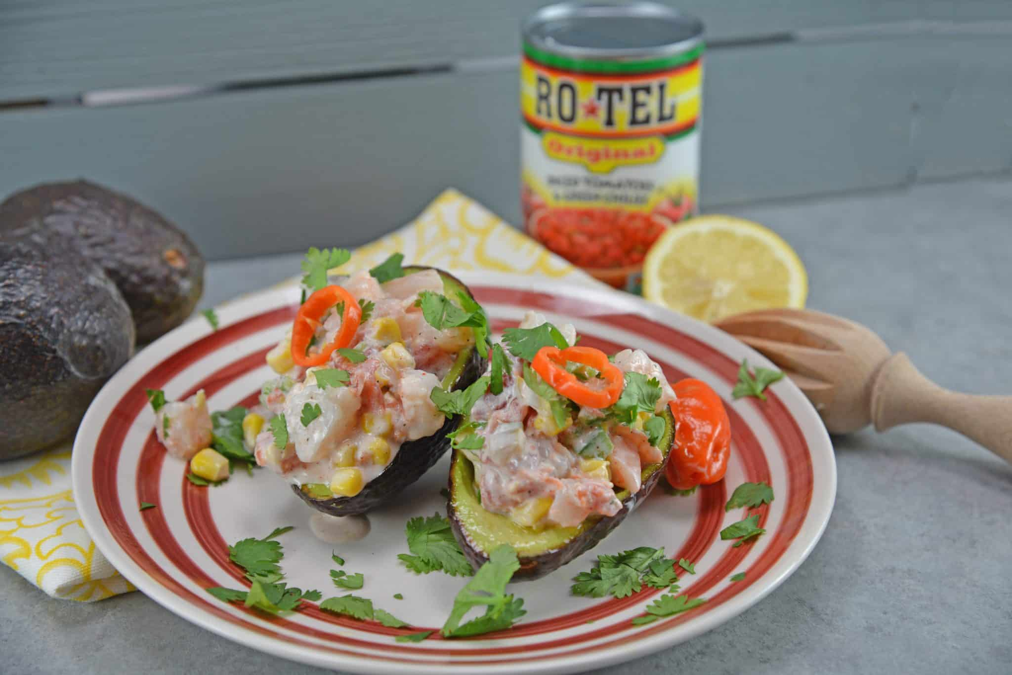 Zesty Shrimp Salad Avocados are an easy, no-cook recipe for your next BBQ. Shrimp, corn, tomatoes and bell pepper with a zesty yogurt sauce served in creamy avocado halves.
