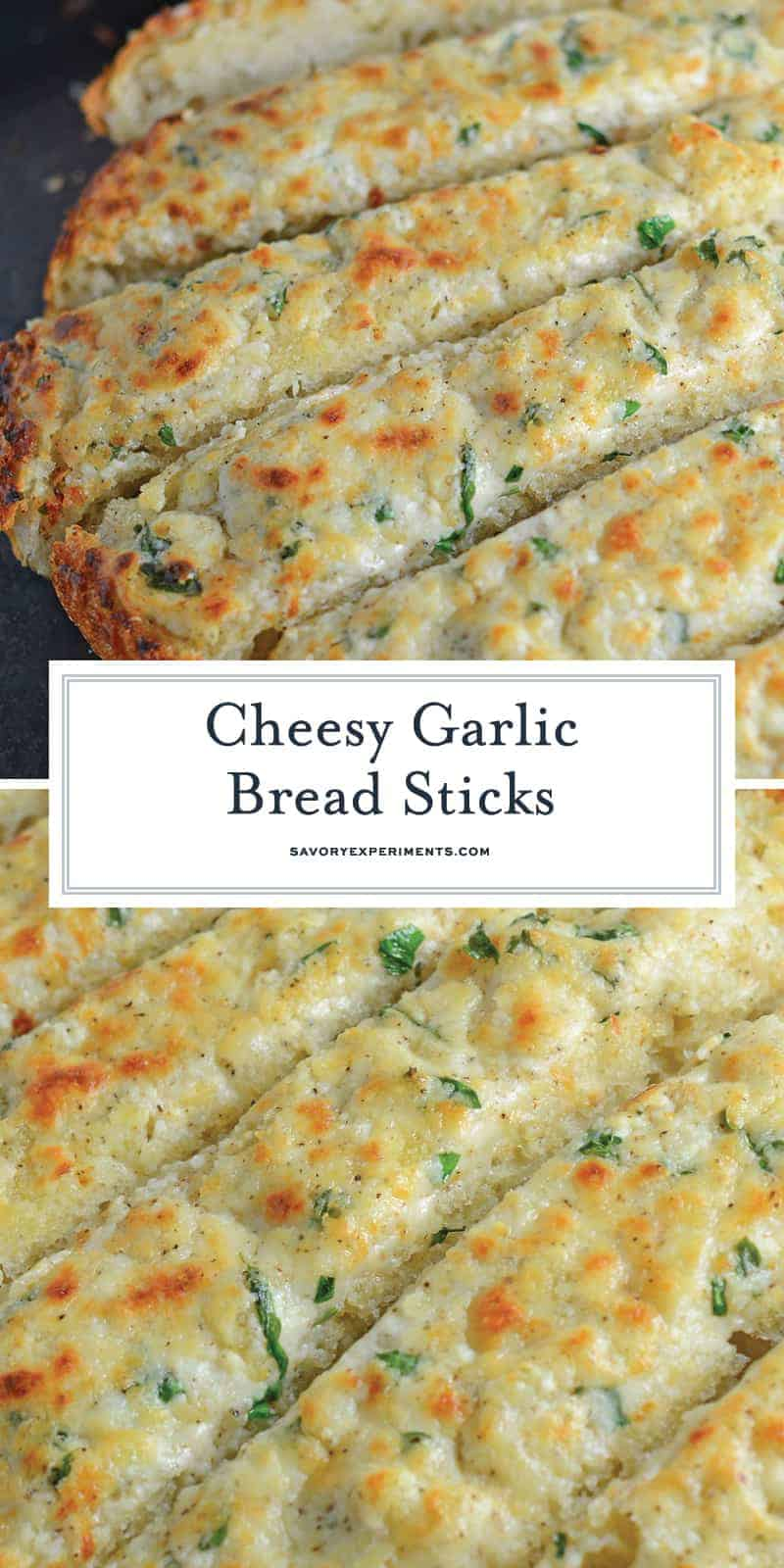 Cheesy Garlic Bread is made with a blend of cheese, cream cheese, garlic and seasonings to make the BEST garlic bread you've ever tasted! #garlicbread #breadsticksrecipe www.savoryexperiments.com