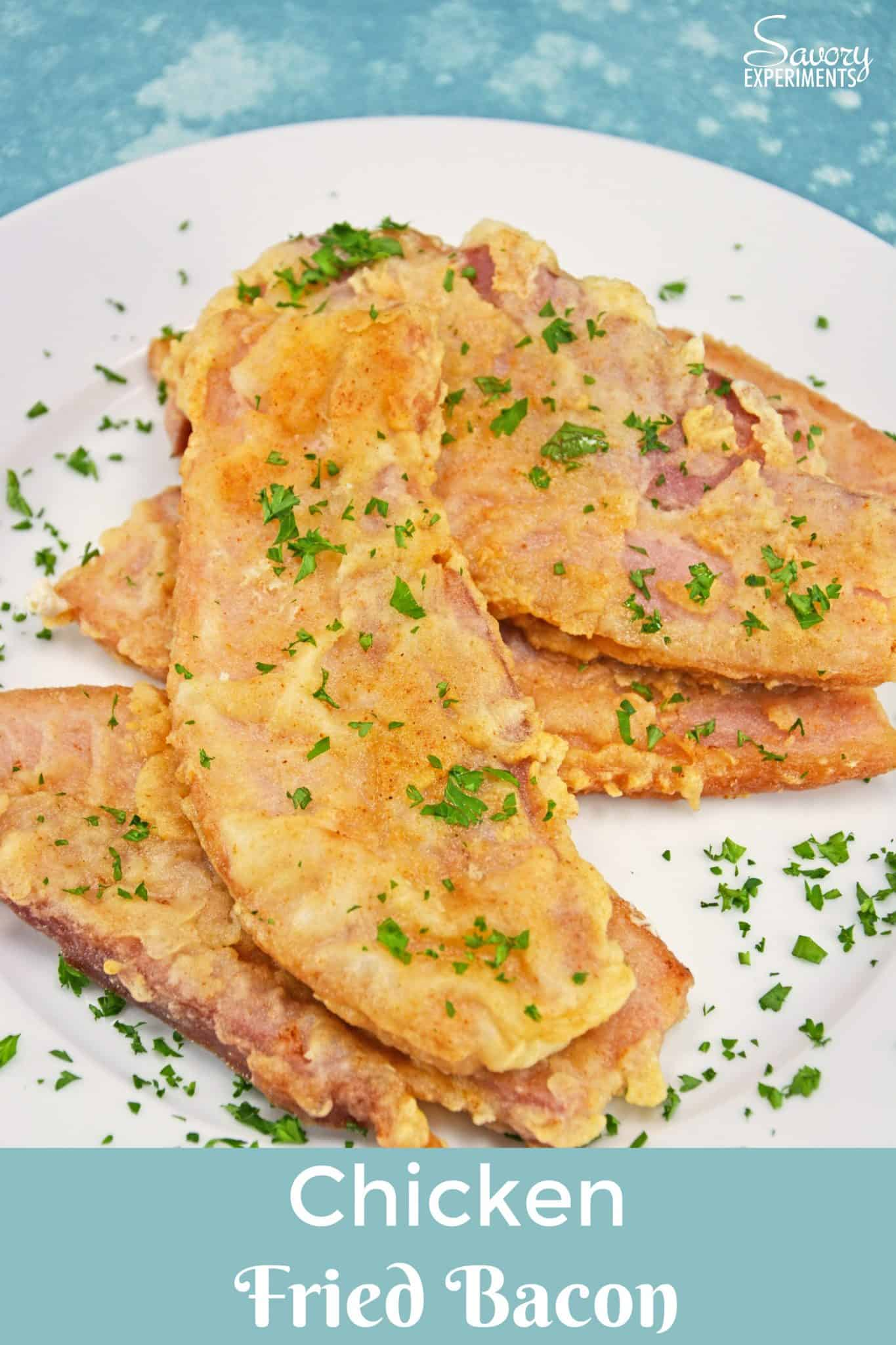 Chicken Fried Bacon is thick cut bacon dredged in seasoned flour, like chicken fried steak, and then fried to a golden brown and served with Cream Gravy.