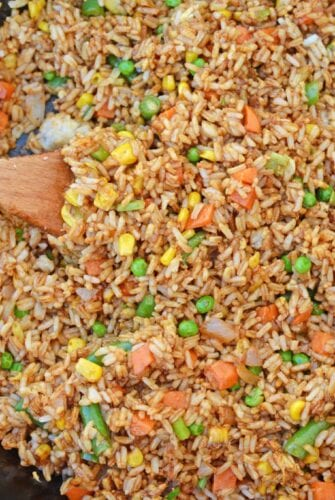 Easy Fried Rice is the best restaurant style fried rice you'll ever make! Just 15 minutes and a great way to clean out the vegetable drawer.
