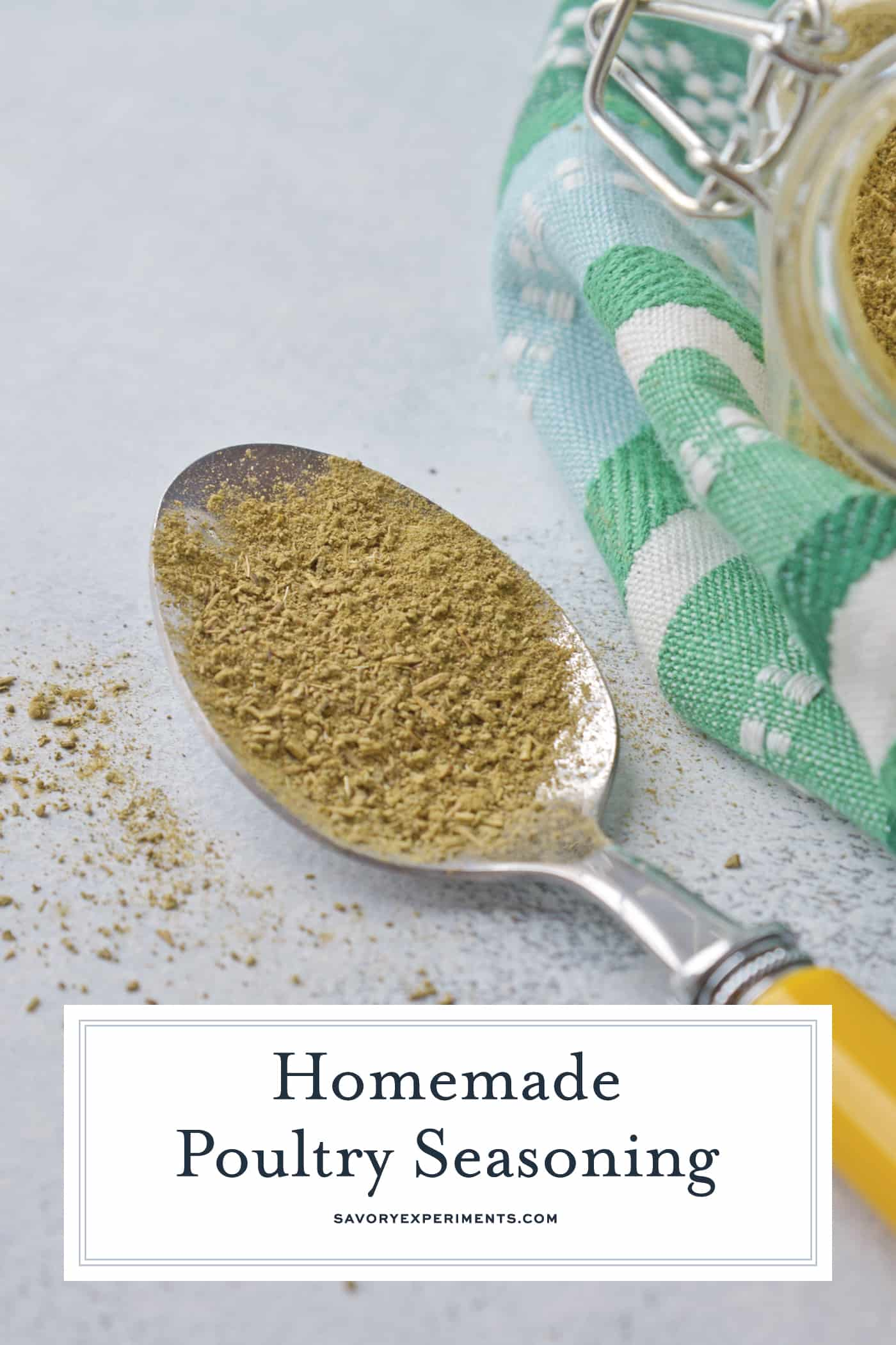 homemade poultry seasoning in a spoon