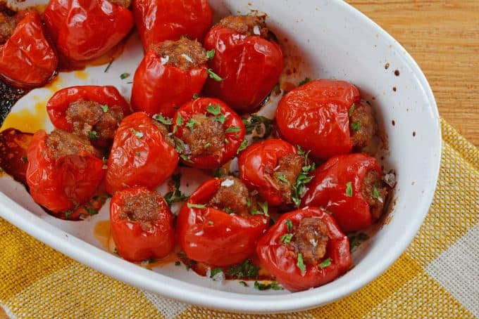 Sausage Stuffed Cherry Peppers are a tasty and easy appetizer recipe using only 5 ingredients. The perfect party food for any occasion!