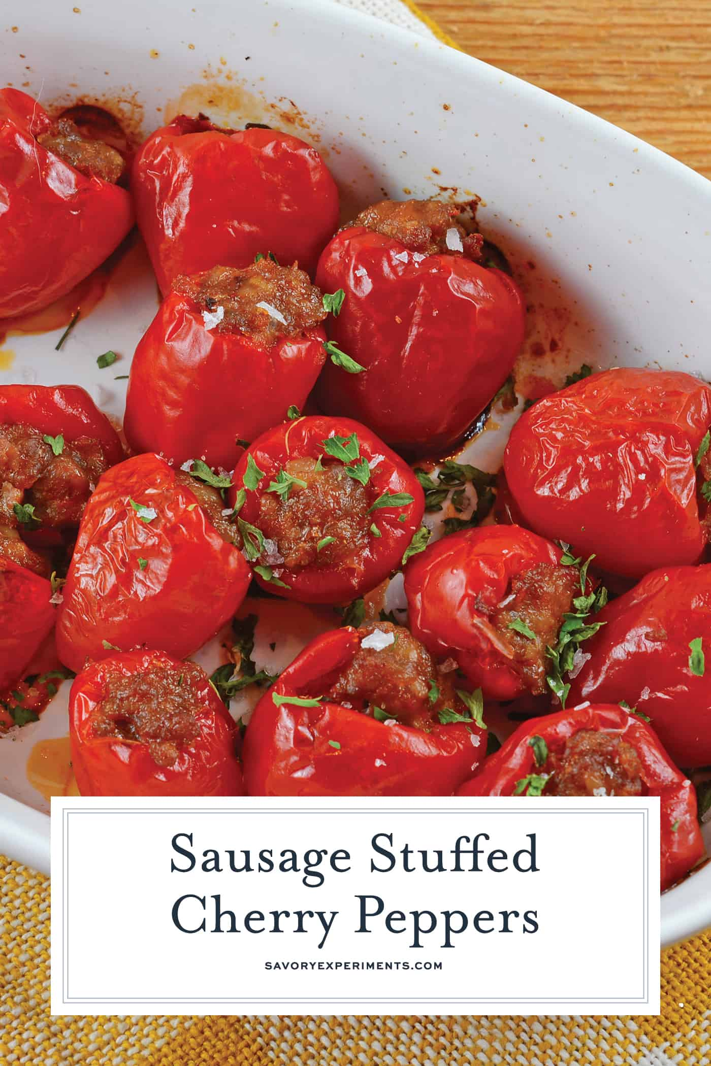Sausage Stuffed Cherry Peppers are a tasty and easy appetizer recipe using only 5 ingredients. The perfect party food for any occasion! #stuffedpeppers #easyappetizers www.savoryexperiments.com