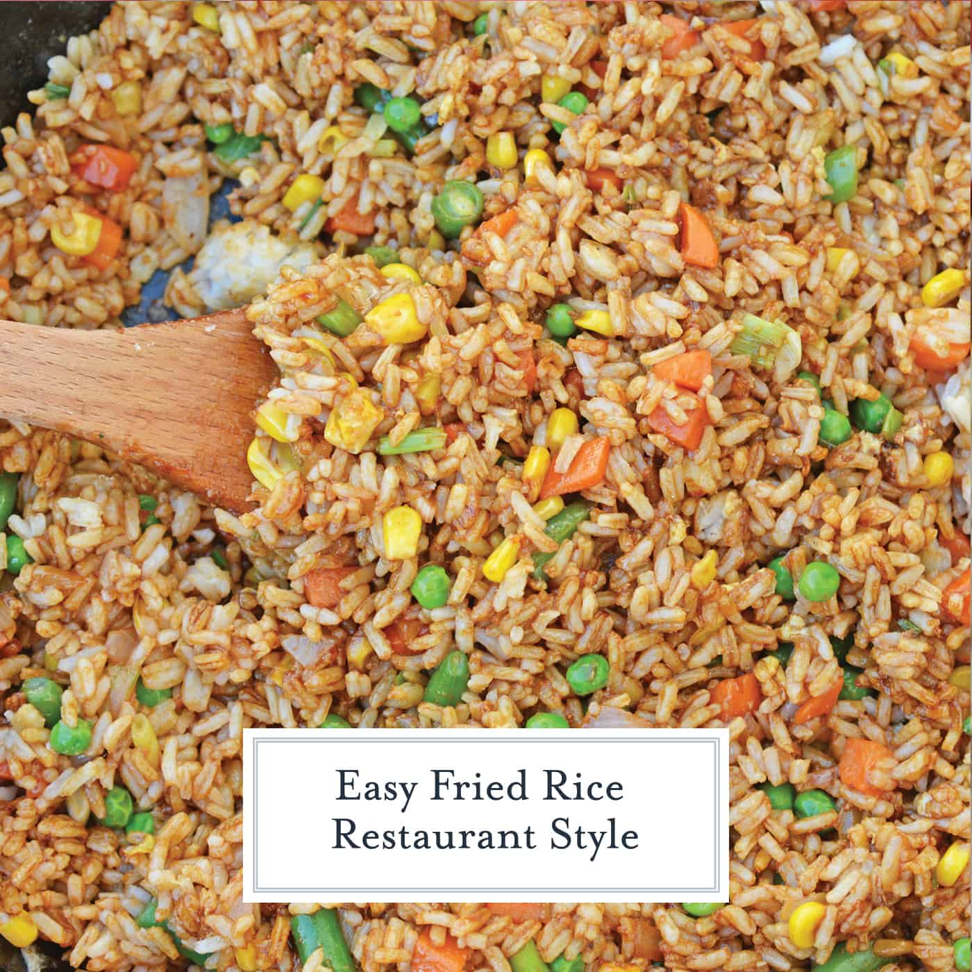 Easy Fried Rice is the best restaurant style fried rice you'll ever make! Just 15 minutes and a great way to clean out the vegetable drawer. #easyfriedrice #friedricerecipe www.savoryexperiments.com