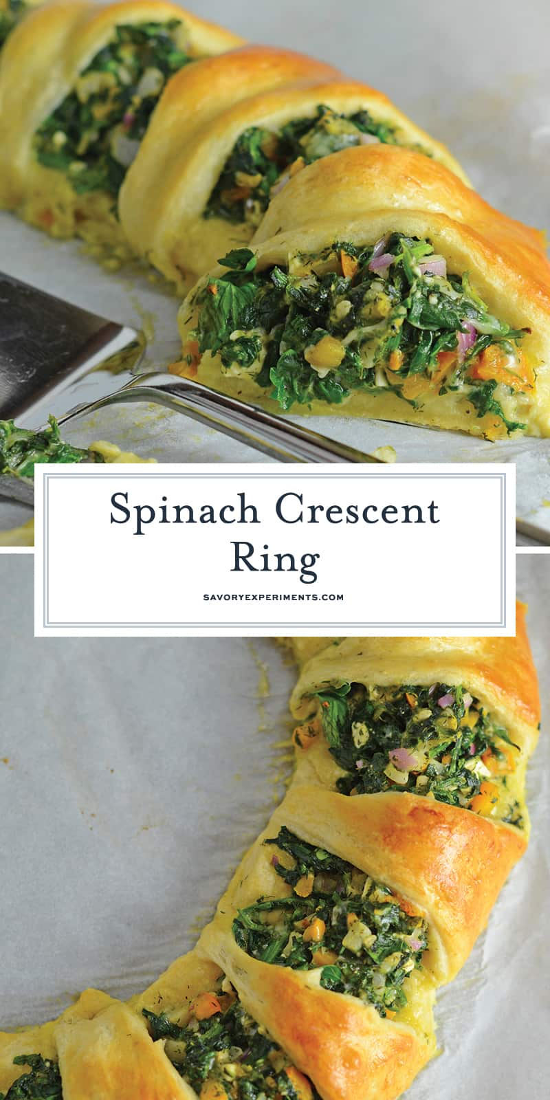 Spinach Crescent Ring is an easy brunch idea or appetizer recipe using spinach, bell pepper, onion, herbs and cheese. It is a hit at all of my parties! #crescentrollrecipes #appetizerideas #brunchrecipes www.savoryexperiments.com