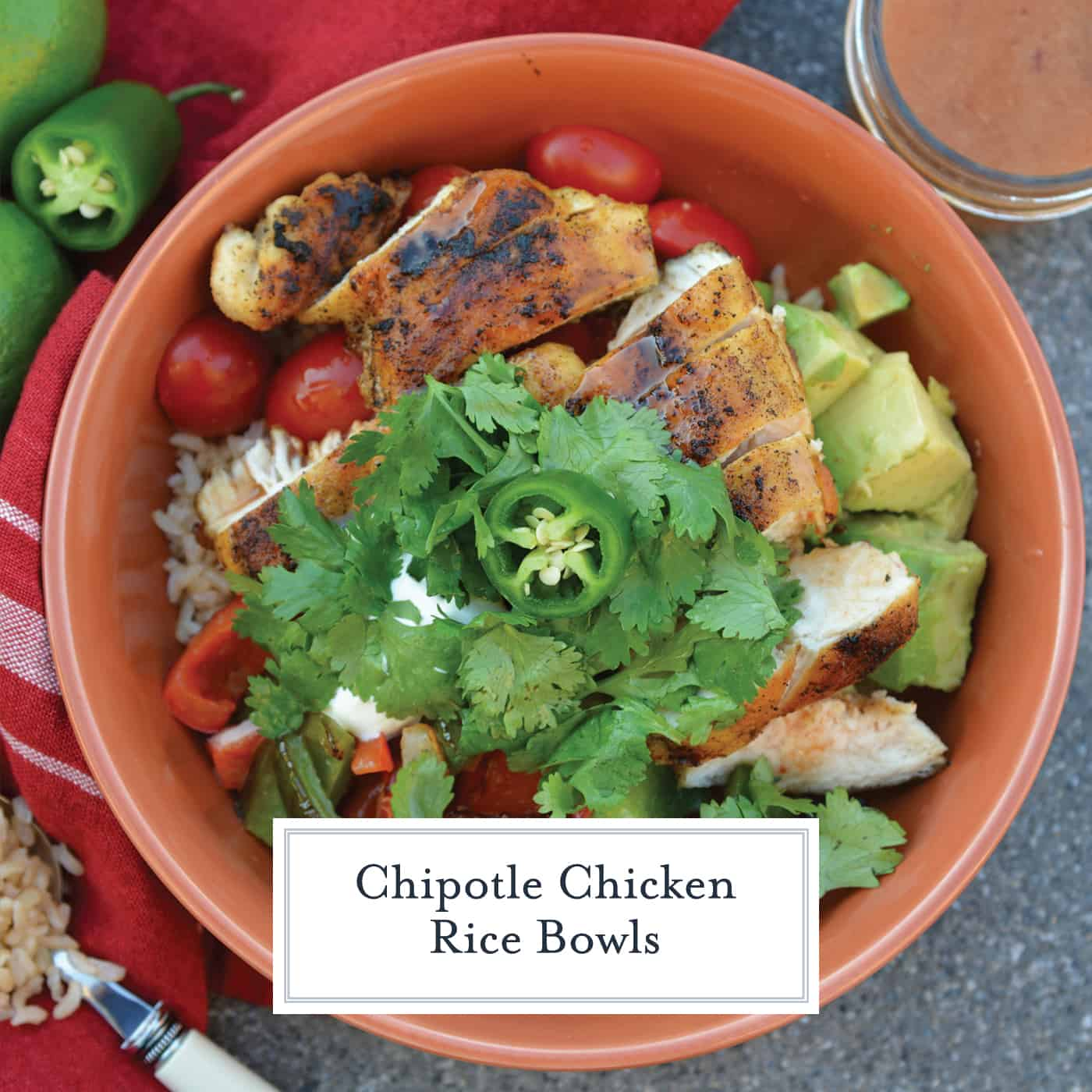 Chipotle Chicken Rice Bowls are made with zesty chipotle chicken, fresh produce and sweet dressing. Meal prep in just 30 minutes! #chipotlechicken #mealprep www.savoryexperiments.com