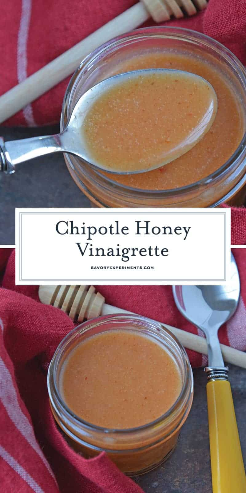 Chipotle Honey Vinaigrette is a sweet and peppery homemade salad dressing blend perfect for serving on fresh green salads, tacos or vegetables. #homemadesaladdressing www.savoryexperiments.com