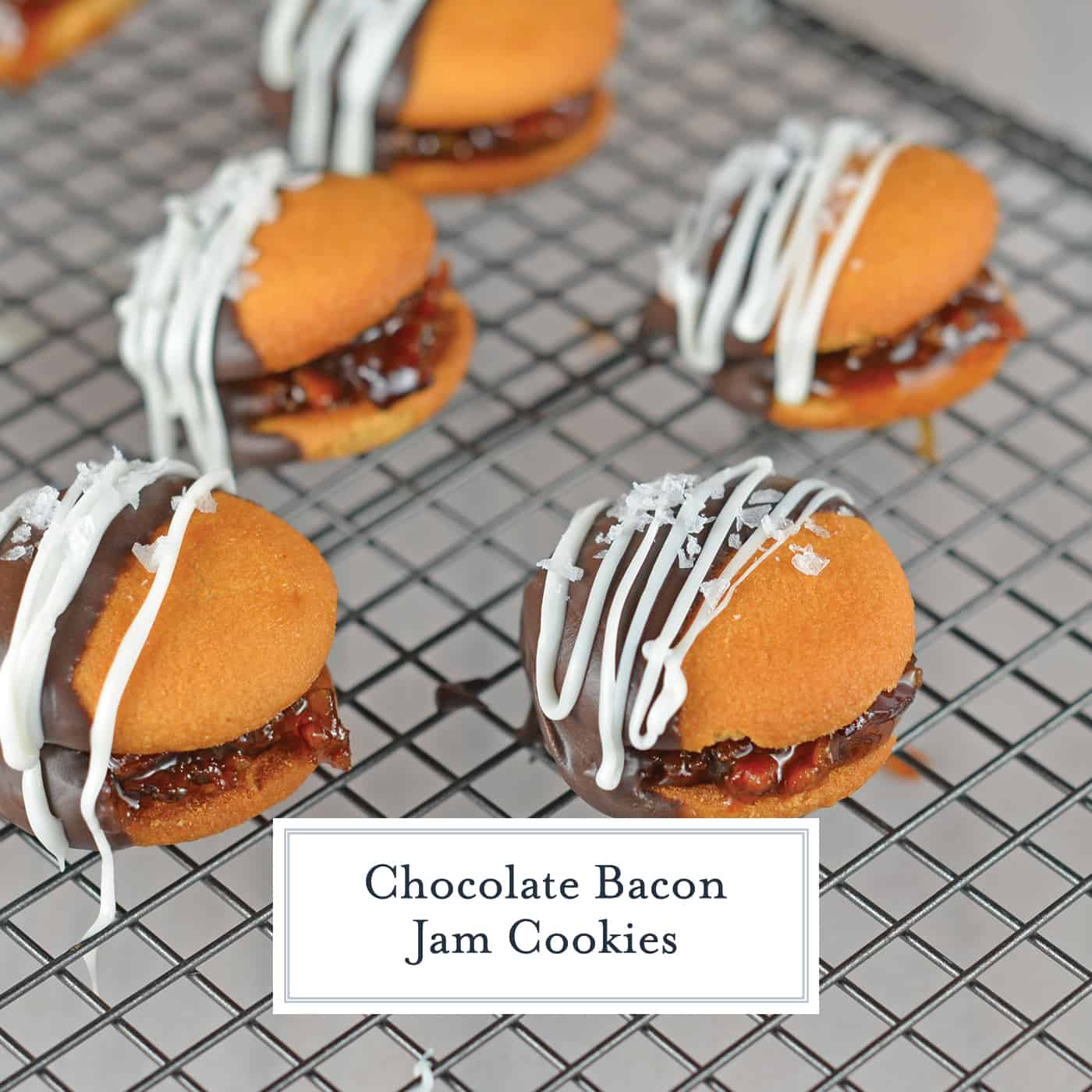 Chocolate Bacon Jam Cookies are an unexpected no bake cookie sandwich filled with a sweet bacon jam and then dipped in dark chocolate and sprinkled with sea salt. #nobakecookies #baconjam www.savoryexperiments.com
