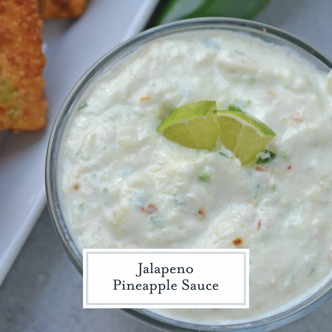 Jalapeno Pineapple Sauce is a cool and spicy dipping sauce recipe. Perfect for crab rangoons, onion rings, grilled vegetables and more! #pineappledippingsauce www.savoryexperiments.com