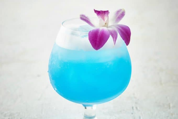 Sparkling Blue Hawaiian Cocktail is a refreshing tropical cocktail recipe perfect for luau theme parties or a lazy Sunday afternoon.