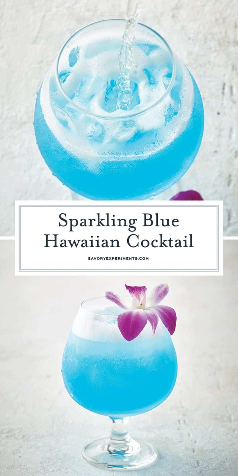Sparkling Blue Hawaiian Cocktail is a refreshing tropical cocktail recipe perfect for luau theme parties or a lazy Sunday afternoon. #bluehawaiian #cocktailrecipes #tropicaldrinks www.savoryexperiments.com