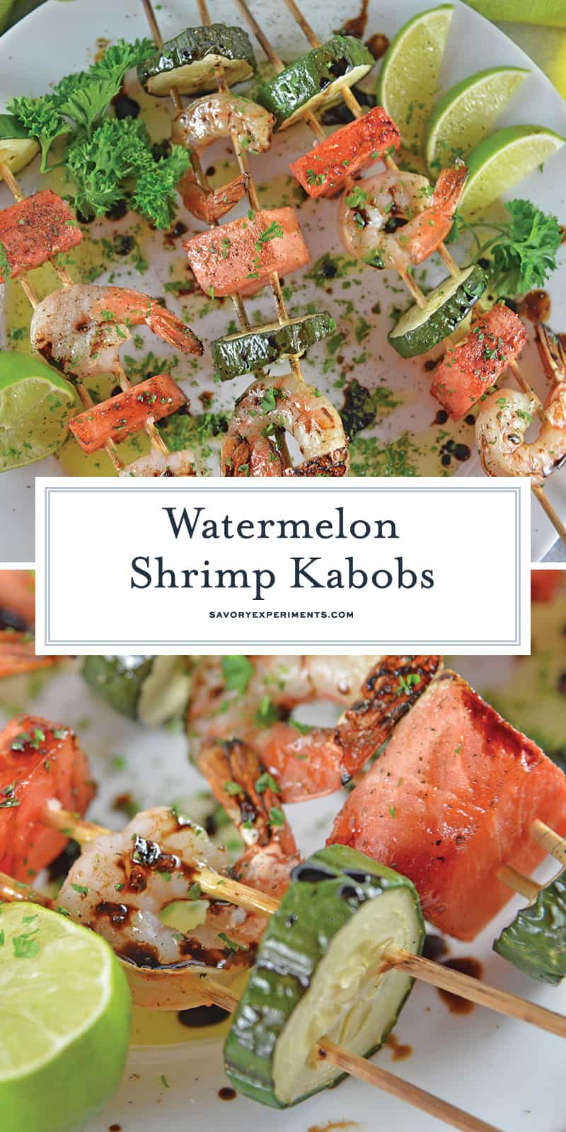 Watermelon Shrimp Kabobs combine grilled shrimp with grilled watermelon with a sweet balsamic reduction and zesty lime. A healthy kabob recipe on the grill. #grilledwatermelon #kabobrecipes www.savoryexperiments.com