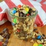 Monster Trail Mix is an easy trail mix of nuts, M&Ms, raisins and chips. The perfect snack for camping, hiking or an afternoon by the pool. Make a large batch and snack for days!