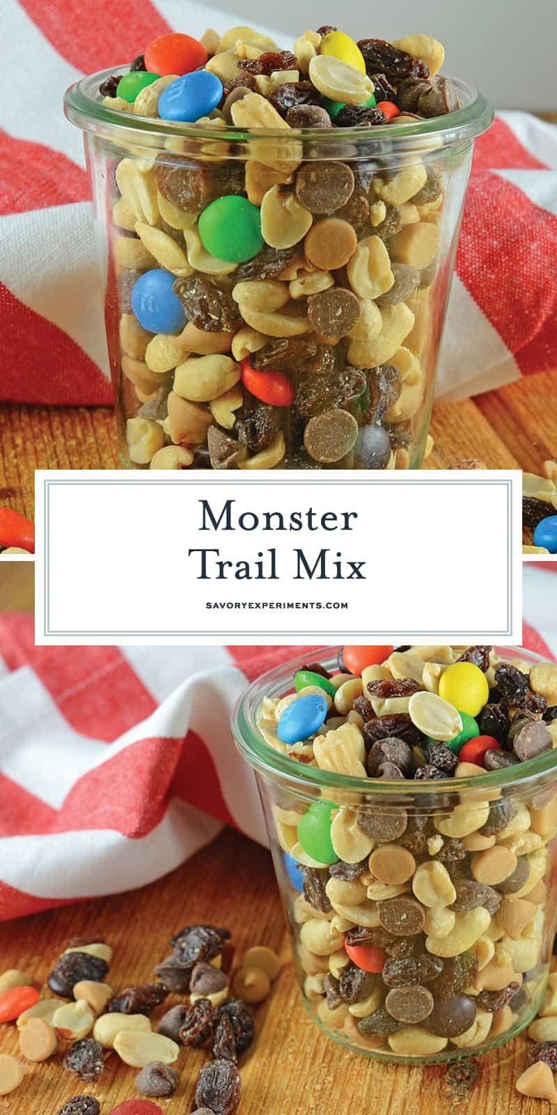 Monster Trail Mix is an easy trail mix of nuts, M&Ms, raisins and chips. The perfect snack for camping, hiking or an afternoon by the pool. Make a large batch and snack for days! #monstermix #trailmix www.savoryexperiments.com