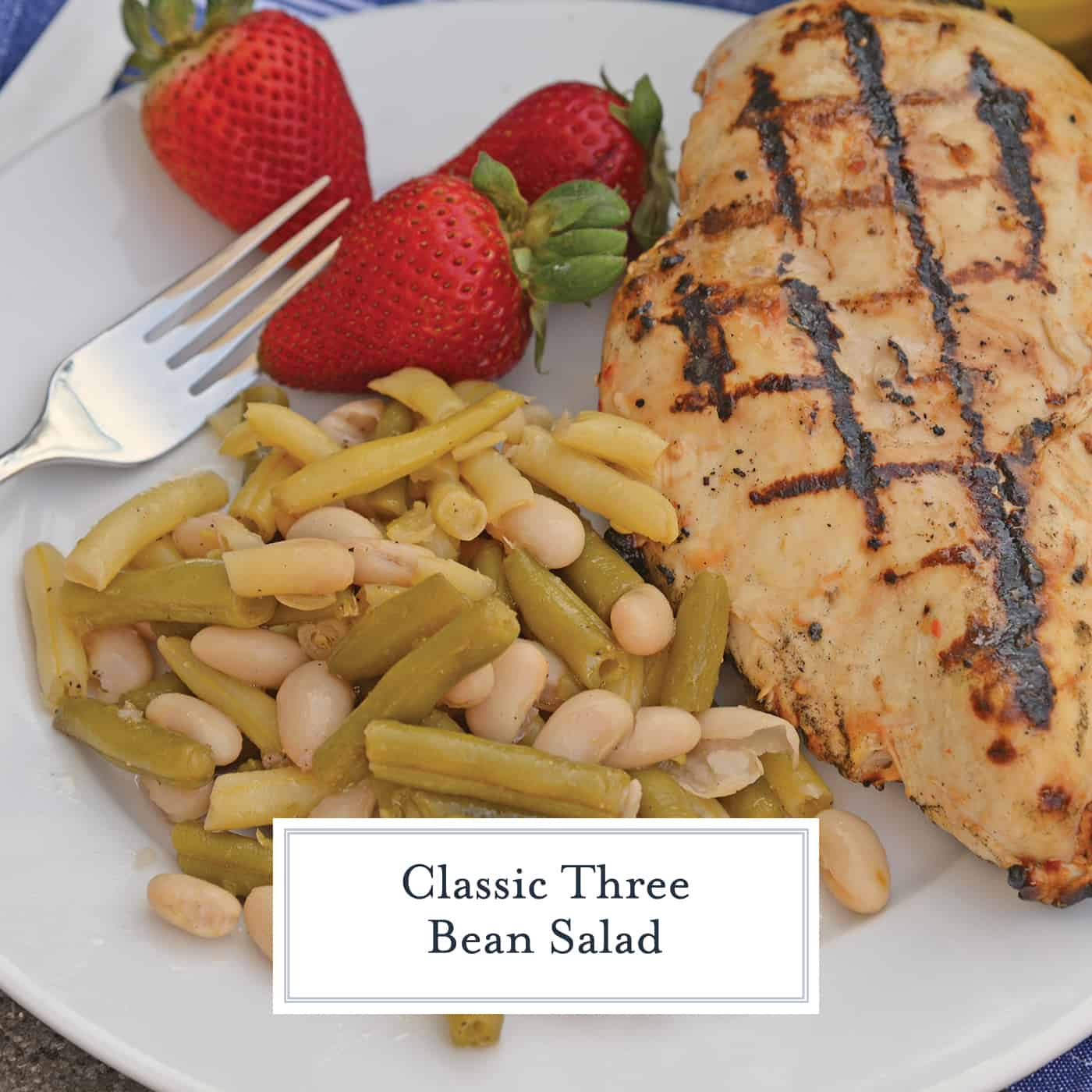 Classic Three Bean Salad is the perfect BBQ side dish. This easy, make-ahead dish is always a hit and perfect for potlucks too! #threebeansalad www.savoryexperiments.com