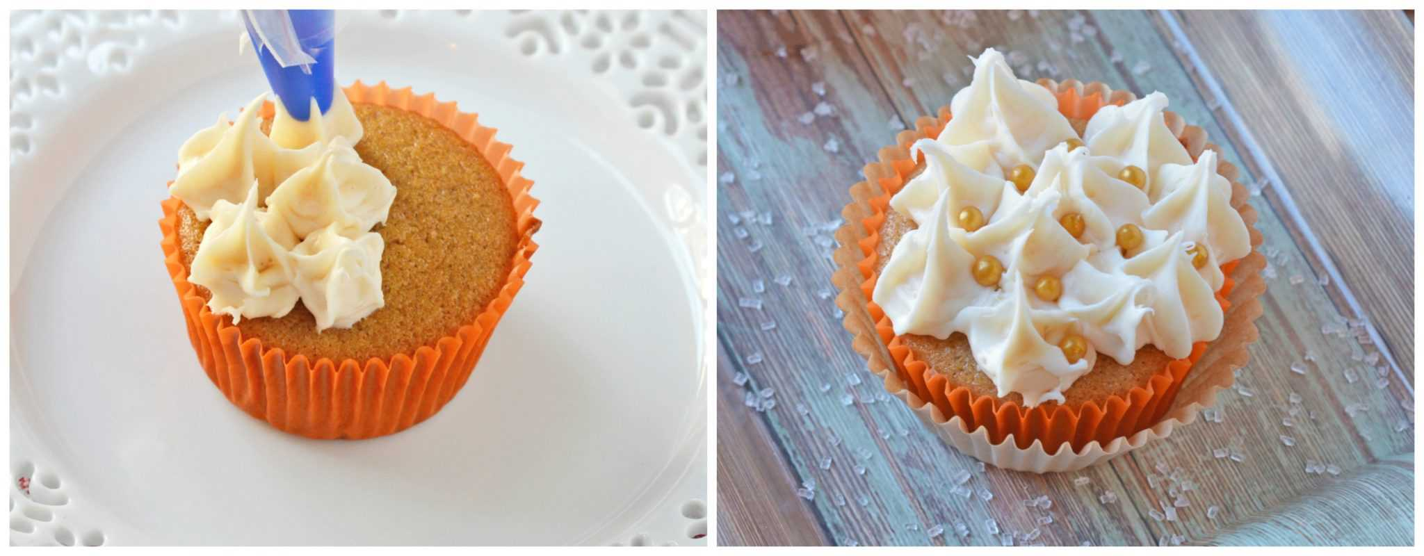 Spice Cupcakes are an easy cupcake recipe perfect for fall. Frost with rich cream cheese frosting and a few embellishments for festive fall cupcakes. #spicecake #easycupcakerecipes www.savoryexperiments.com