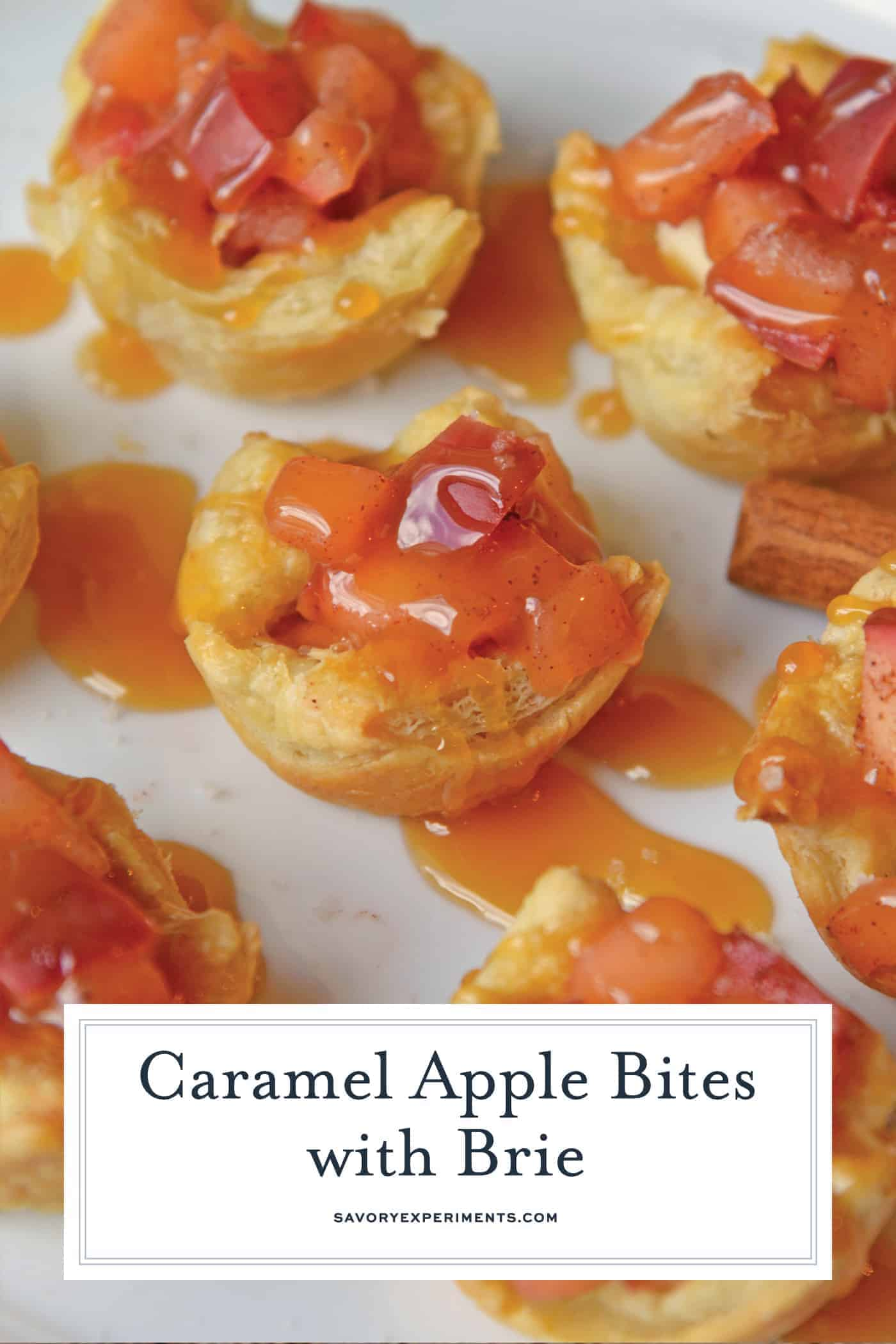 Caramel Apple Bites with Brie are a quick apple tart recipe using puff pastry. The best mix between mini caramel apples and salted caramel apple pie! #caramelapplebites #minicaramelapples www.savoryexperiments.com
