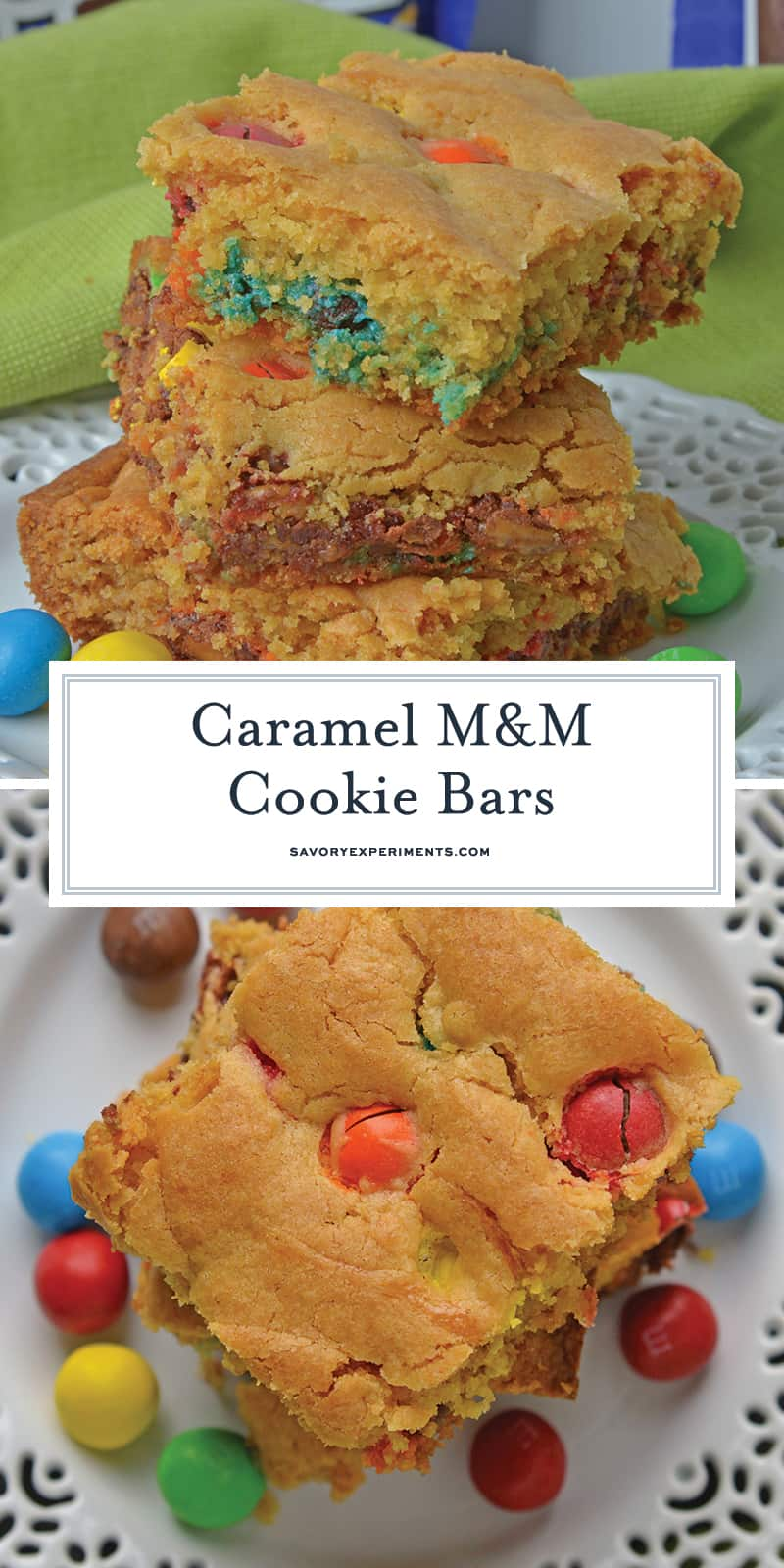 Caramel Cookie Bars are an easy dessert bar recipe using only 5 ingredients and 40 minutes! Soft, easy bar cookies with chocolate and caramel. #dessertbars #magiccookiebars www.savoryexpriments.com