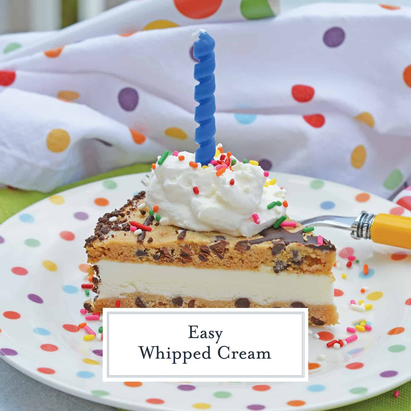 Easy Whipped Cream is a 3-ingredient recipe for whipped cream from scratch. Perfect for topping ice cream cake and other desserts! #homemadewhippedcream #whippedcreamfromscratch www.savoryexperiments.com