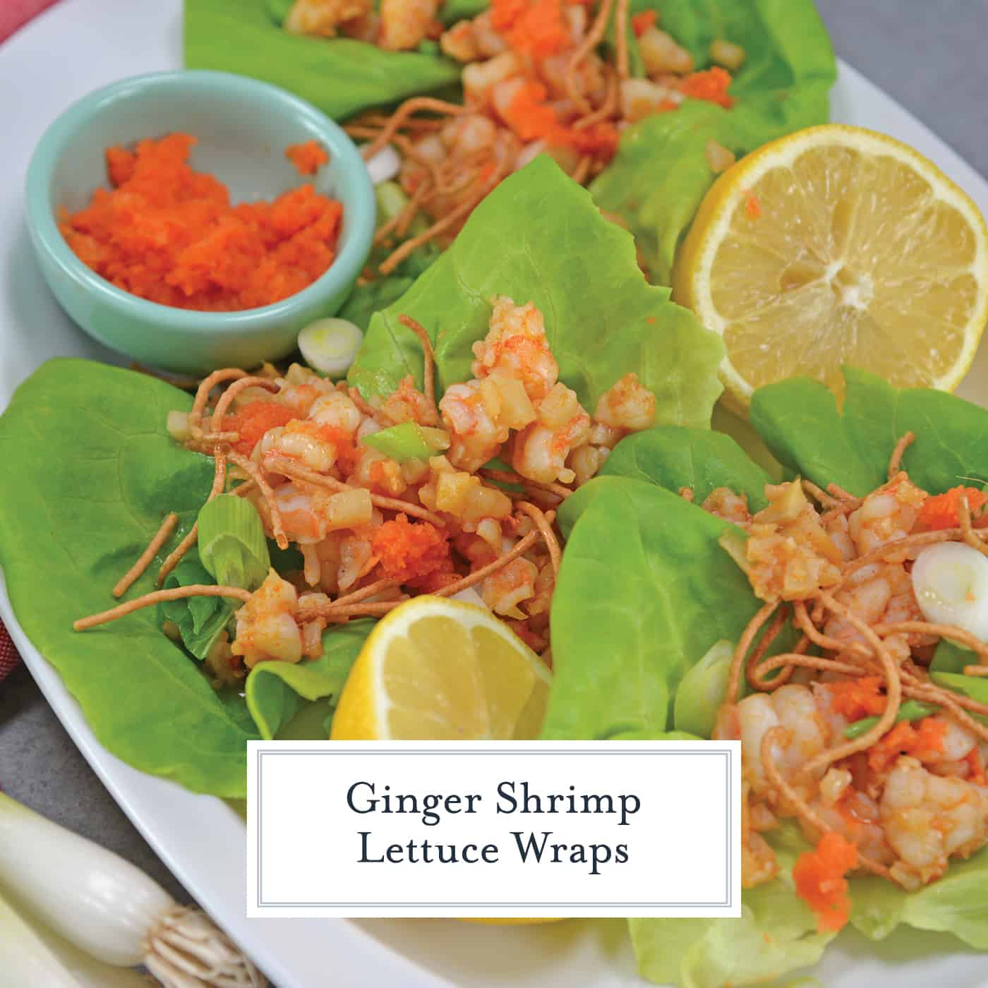 Ginger Shrimp Lettuce Wraps, made with sherry, ginger and garlic, are the perfect appetizer or entrée. Ready in just 15 minutes! #lettucewraps #easyshrimprecipes www.savoryexperiments.com