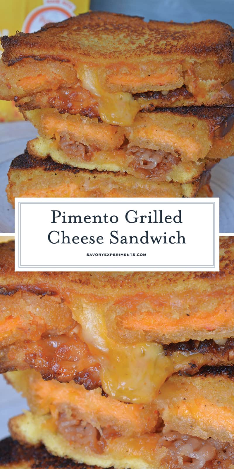 Pimento Grilled Cheese Sandwiches are the ultimate grilled cheese recipe. Zesty pimento cheese bites with bacon, gouda, cheddar and red pepper jelly on thick cut potato bread. #grilledcheesesandwichrecipes #pimentocheese www.savoryexperiments.com