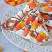 Halloween Bark is a sweet and salty bark. The easiest no bake, make in ahead and in large quantities Halloween dessert out there! #halloweendesserts #howtomakebark www.savoryexperiments.com