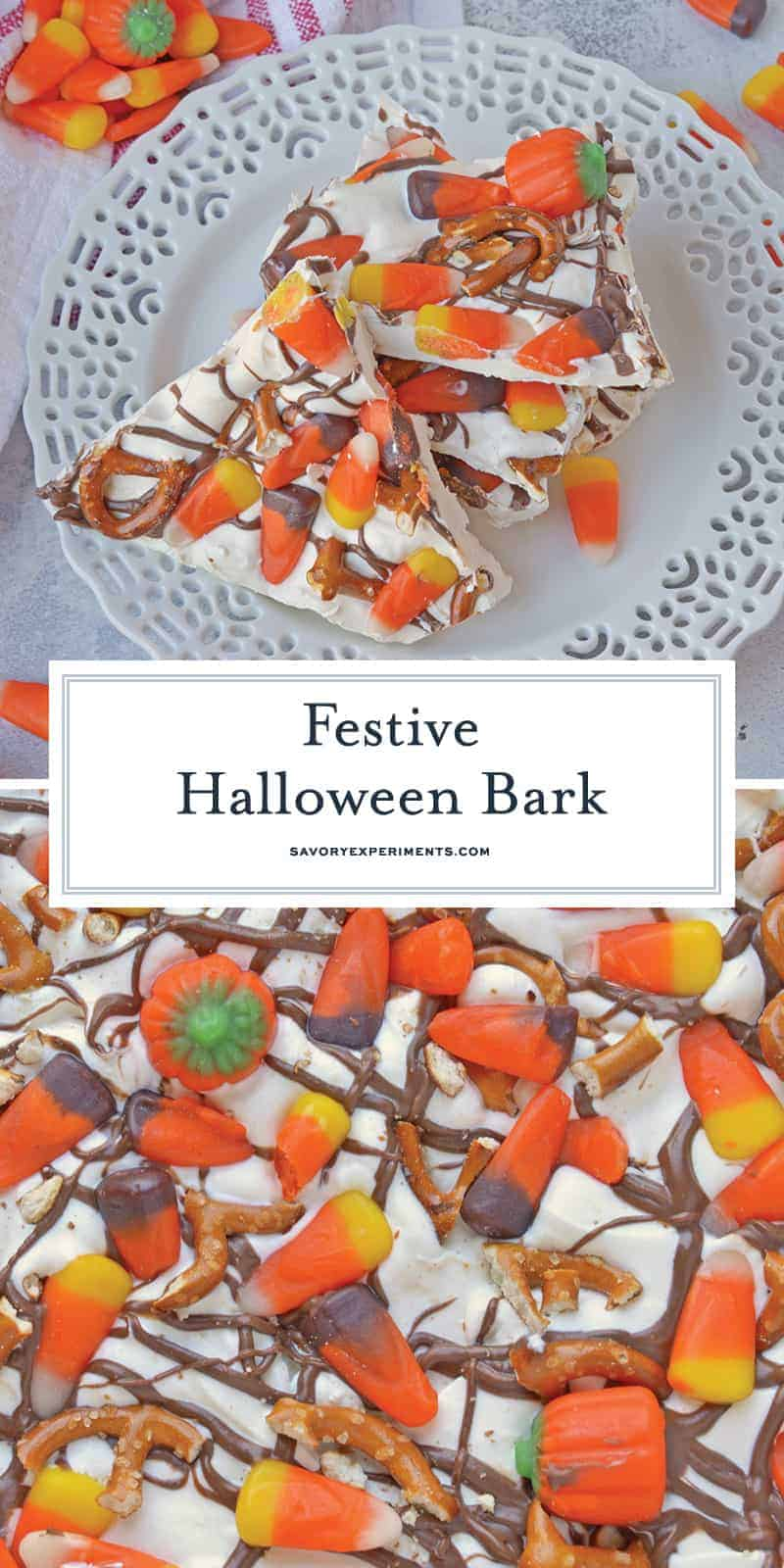 Halloween Bark is a sweet and salty bark. The easiest no bake, make ahead and in large quantities Halloween dessert out there! #halloweendesserts #howtomakebark www.savoryexperiments.com