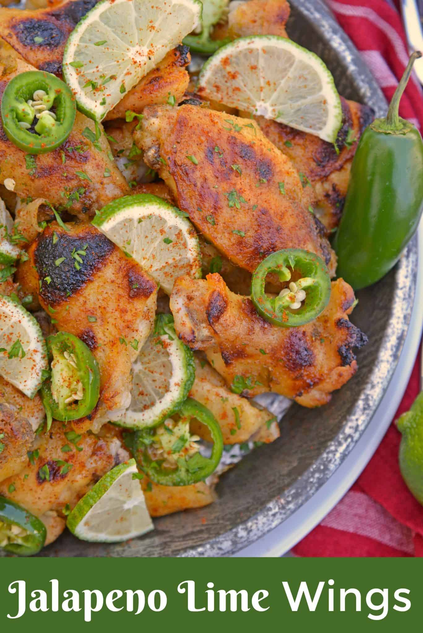 Sweet and spicy Jalapeno Lime Wings are baked wings perfect for holiday parties or watching the big game. A unique flavor everyone will love. #bakedchickenwings #chickenwingrecipes www.savoryexperiments.com