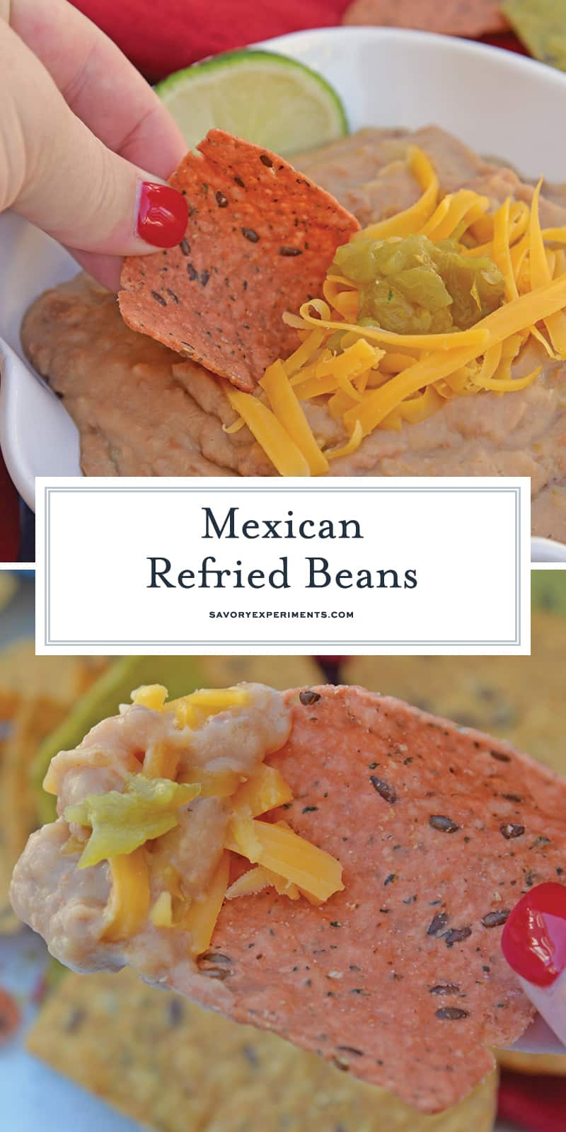 Mexican Refried Beans are an easy homemade refried bean recipe using pinto beans, green chilies, cheese and Mexican spices. Ready in just 15 minutes! #refriedbeans #mexicansidedish www.savoryexperiments.com